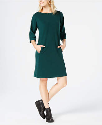 Eileen Fisher Tencel® Ponte 3/4-Sleeve Boat-Neck Dress, Created for Macy's