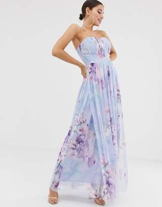 Lipsy bandeu mesh maxi dress in blue floral print