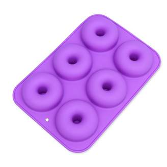 OUNONA 6-Cavity Silicone Donut Mold,Non-Stick Donut Baking Pan for Cake Biscuit Bagels Muffins(Light Purple)