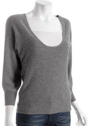 Callixta heather grey textured cashmere dolman sweater
