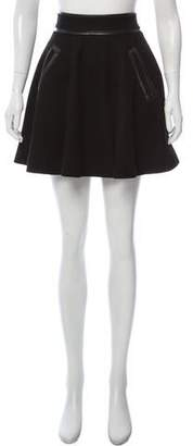 Manoush Leather-Trimmed Wool Mini Skirt