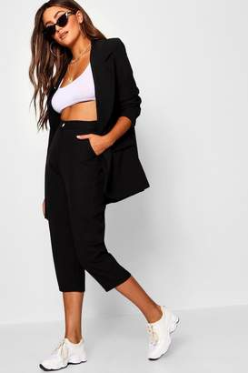 boohoo Slim Leg Contrast Button Cropped Trouser