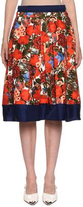 Marni Floral-Print Pleated Poplin Skirt