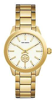 Tory Burch Women's Collins Goldtone Stainless Steel Bracelet Watch