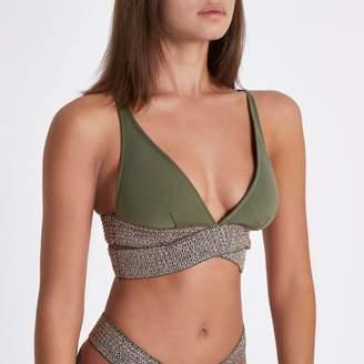 River Island Womens Khaki metallic strappy triangle bikini top