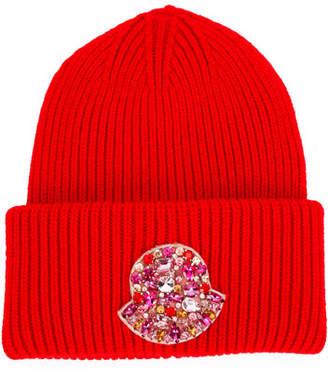 Moncler Jeweled Logo Beanie Hat