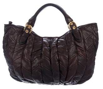 Miu Miu Quilted Leather Satchel brown Quilted Leather Satchel