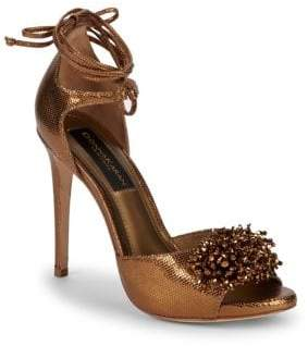 Donna Karan Suri Embellished Metallic Sandals