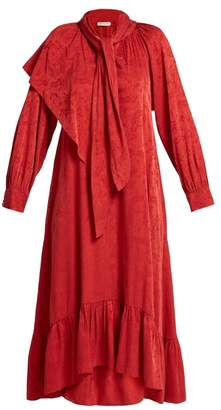 Masscob Brittany Silk Blend Jacquard Dress - Womens - Red