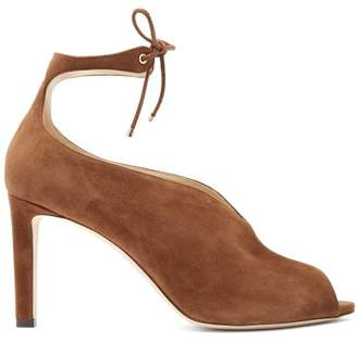 Jimmy Choo Sayra 85 Ankle Tie Suede Pumps - Womens - Dark Brown