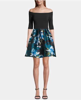 Betsy & Adam Off-The-Shoulder Floral-Skirt Dress