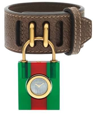 Gucci Twirl Small Leather Strap Padlock Watch, 17mm