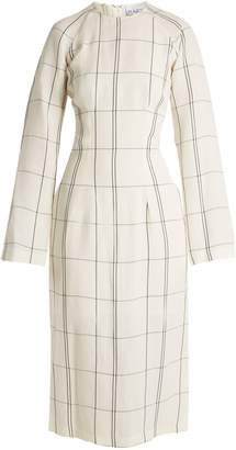 Raey Darted long-sleeved checked-twill dress