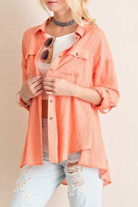 Entro Crinkled Button Down Top