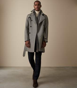 Reiss Our last order date for Christmas has now passed SPENCER HOUNDSTOOTH BELTED MAC Taupe