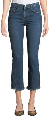 Current/Elliott The Fan Frayed Straight-Leg Cropped Jeans with Raw Hem
