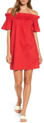 Women's Pleione Off The Shoulder Poplin Shift Dress $69 thestylecure.com