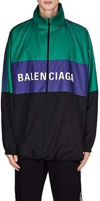 Balenciaga Men's Colorblocked Nylon Oversized Track Jacket - Black