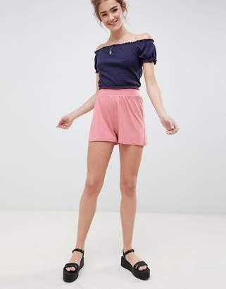 Asos Design Culotte Shorts In Rose Pink