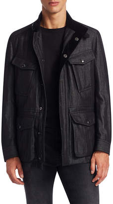 Tom Ford Stand Collar Coat With Elbow Patch