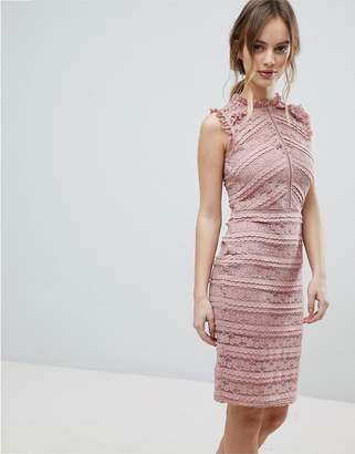 Lipsy Allover Lace Dress with Ruffle Detail