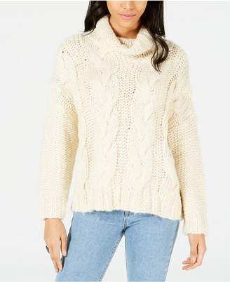 Moon River Cable-Knit Cowl-Neck Sweater