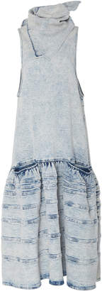 Proenza Schouler Sleeveless Scarf-Neck Denim Dress