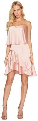 Halston Strapless Flounce Skirt Satin Dress Women's Dress