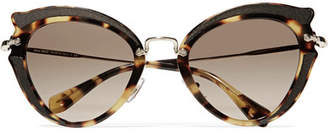 Miu Miu Cat-eye Canvas-trimmed Acetate And Gold-tone Sunglasses - Tortoiseshell