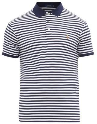 Polo Ralph Lauren Striped Logo Embroidered Cotton Polo Shirt - Mens - Navy White