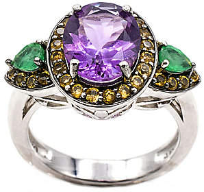 QVC Sterling 8.80 cttw Multi Gemstone Ring