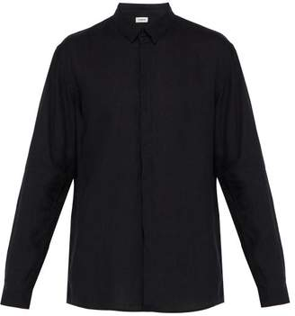 Commas - Point Collar Linen Shirt - Mens - Black