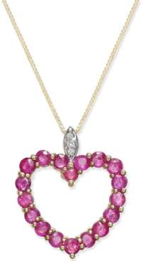 Macy's Ruby (1-3/4 ct. t.w.) and Diamond Accent Heart Pendant Necklace in 14k Gold