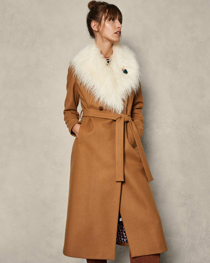 ALCAZA Removable faux fur collar wool wrap coat