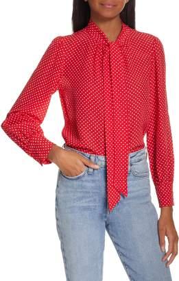 Rebecca Taylor Dot Print Scarf Tie Silk Blouse