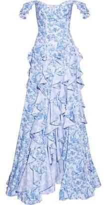 Caroline Constas Off-The-Shoulder Ruffled Printed Cotton-Poplin Gown