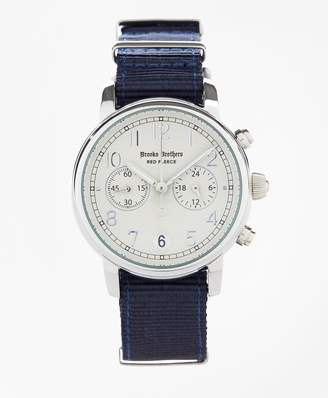 Brooks Brothers Round White Automatic Chronograph Watch with Nylon Straps
