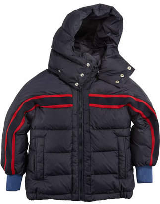 Moncler Richard Striped-Trim Quilted Jacket, Size 8-14