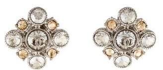 Chanel Crystal Cluster CC Stud Earrings