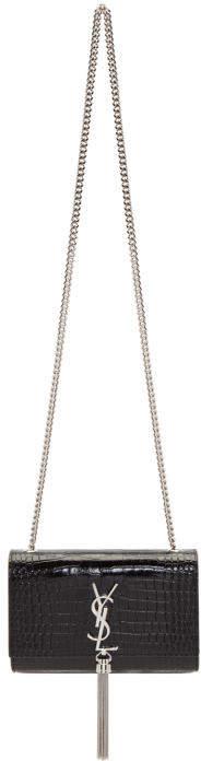 Saint Laurent Black Croc Small Kate Tassel Chain Bag