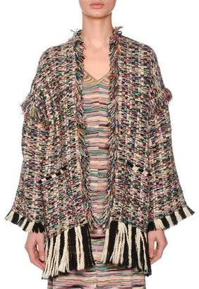 Missoni Oversized Multicolor Boucle Oversized Cardigan w/ Fray