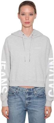 Calvin Klein Jeans Logo Printed Crop Sweatshirt Hoodie