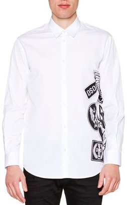 Dsquared2 Side Logo-Graphic Long-Sleeve Shirt, White $395 thestylecure.com