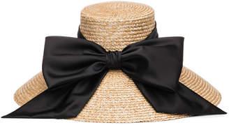 Eugenia Kim Mirabel Textured Straw Sun Hat w/ Satin Bow