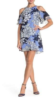 Vince Camuto Floral Chiffon Cold Shoulder Shift Dress