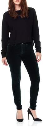 Hudson Jeans Green-Velvet High-Rise Skinnys
