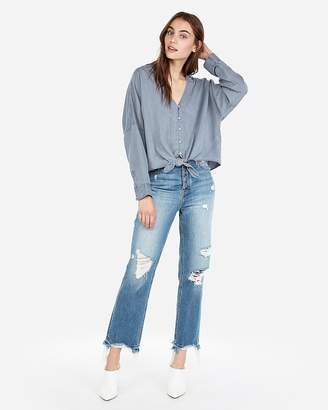 Express Tie Front Silky Soft Twill Shirt
