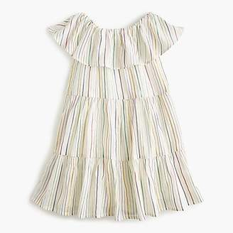 J.Crew Girls' off-the-shoulder tiered-ruffle dress in rainbow stripe