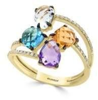 Effy Diamond, Amethyst, Green Amethyst, Blue Topaz, Citrine Stone Ring