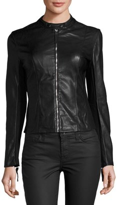Joan Vass Faux-Leather Moto Jacket, Black $69 thestylecure.com